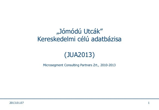 """""""Jómódú Utcák""""             Kereskedelmi célú adatbázisa                            (JUA2013)              Microsegment Con..."""