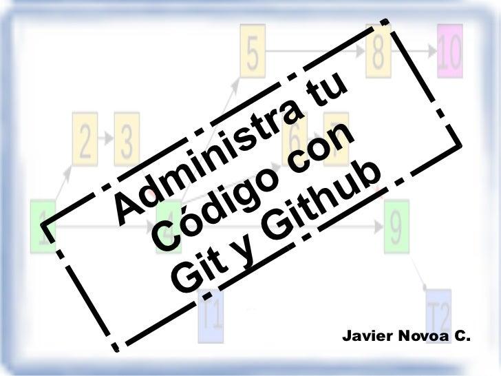 Administra tu Código con Git y Github Javier Novoa C.