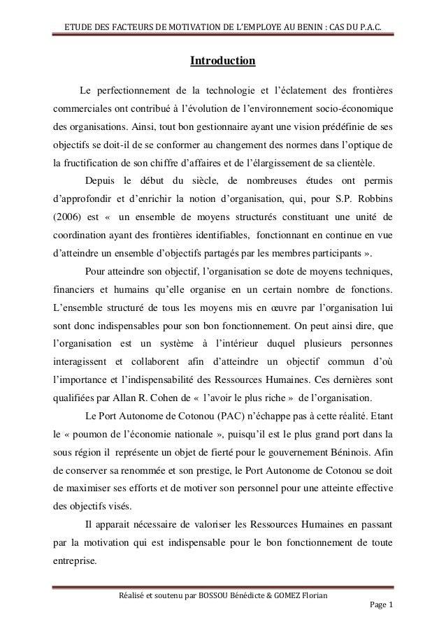 ETUDE DES FACTEURS DE MOTIVATION DE L'EMPLOYE AU BENIN : CAS DU P.A.C. Réalisé et soutenu par BOSSOU Bénédicte & GOMEZ Flo...