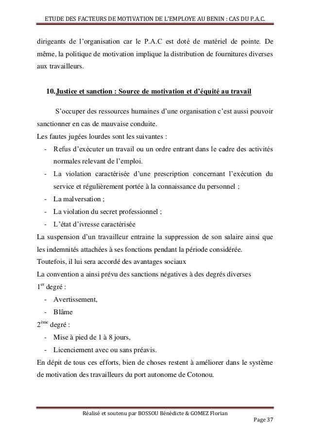 Facteurs de motivation de l 39 employ b ninois cas du port - Cabinet d expertise comptable au benin ...