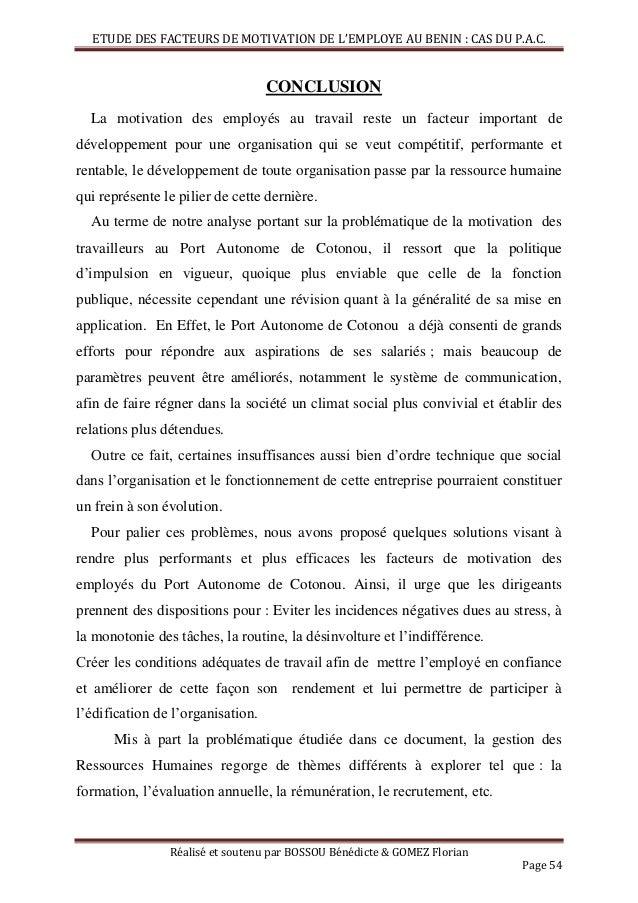 Facteurs De Motivation De L Employé Béninois Cas Du Port
