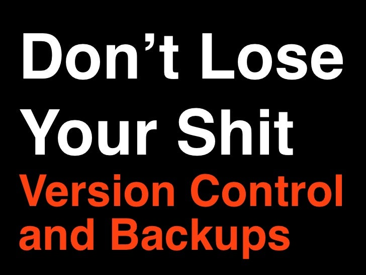 Don't Lose Your Shit Version Control and Backups