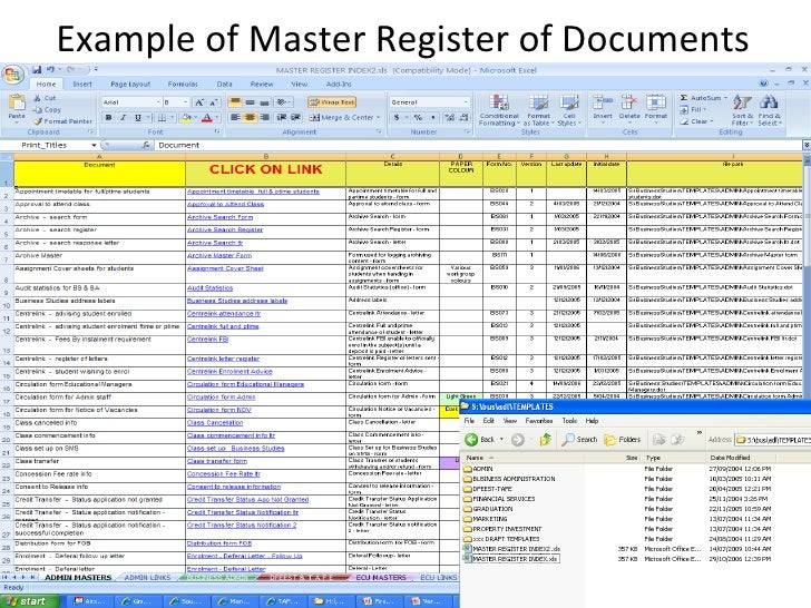 Version control and storage for Document register template free
