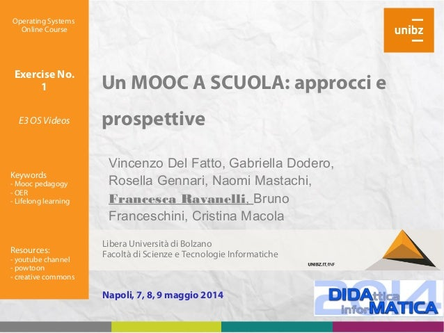 Un MOOC A SCUOLA: approcci e prospettive Operating Systems Online Course Exercise No. 1 E3 OS Videos Keywords - Mooc pedag...