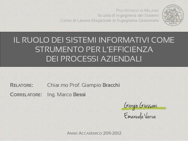 POLITECNICO DI MILANO                                     Scuola di Ingegneria dei Sistemi                   Corso di Laur...