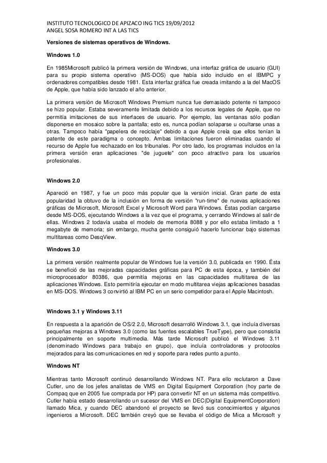 INSTITUTO TECNOLOGICO DE APIZACO ING TICS 19/09/2012ANGEL SOSA ROMERO INT A LAS TICSVersiones de sistemas operativos de Wi...