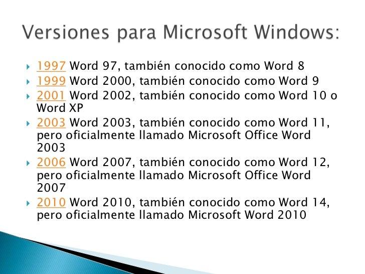 Versiones Microsoft Word
