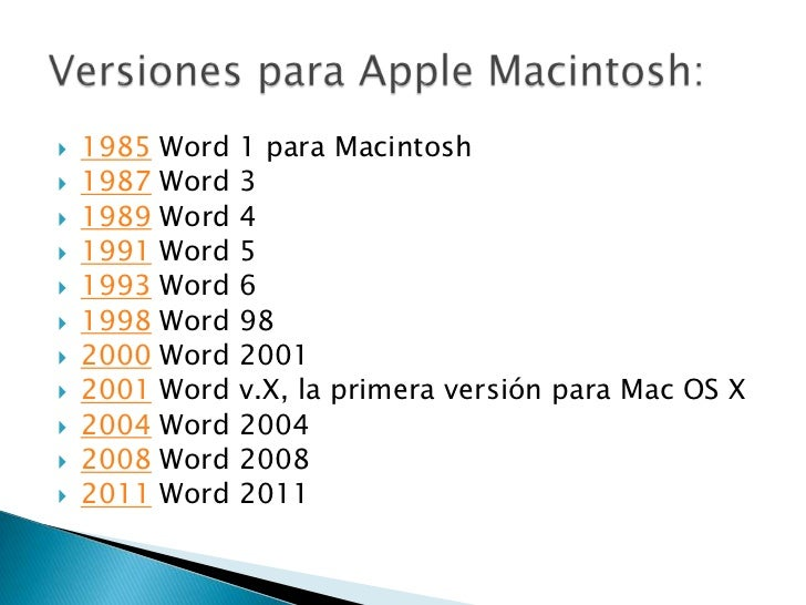 Versiones Microsoft Word