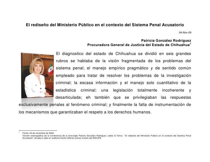 El rediseño del Ministerio Público en el contexto del Sistema Penal Acusatorio                                            ...