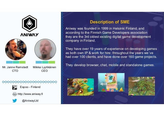 Mr. Janne Ramstedt CTO Aniway was founded in 1999 in Helsinki Finland, and according to the Finnish Game Developers associ...