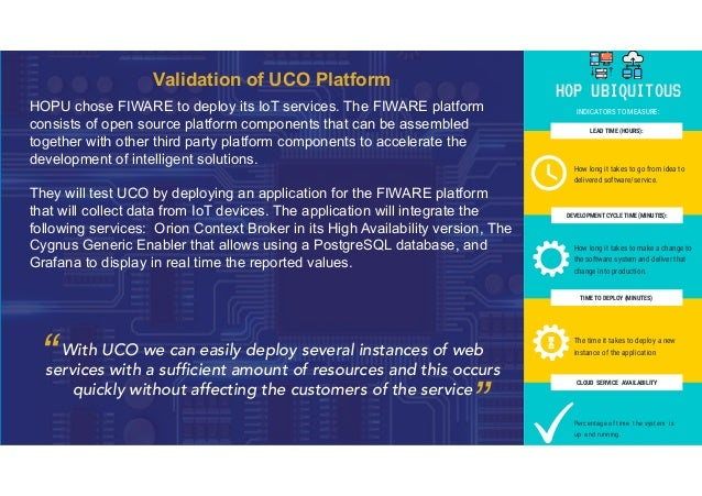Validation of UCO Platform HOPU chose FIWARE to deploy its IoT services. The FIWARE platform consists of open source platf...