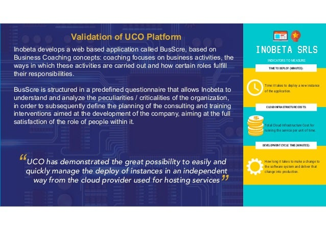 Validation of UCO Platform Inobeta develops a web based application called BusScre, based on Business Coaching concepts: c...