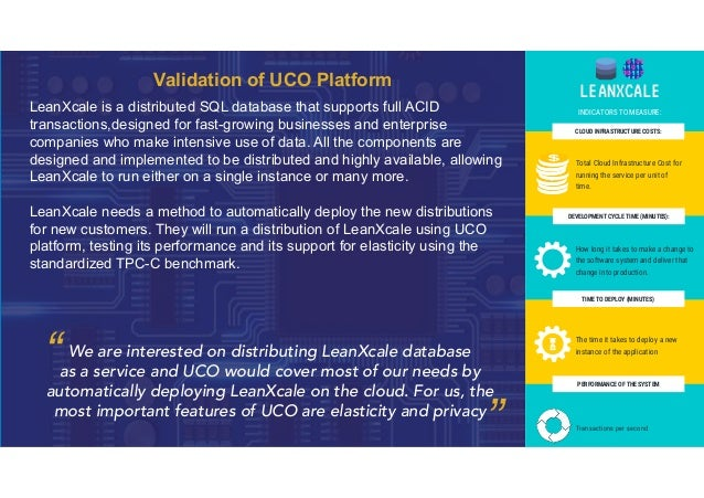 Validation of UCO Platform LeanXcale is a distributed SQL database that supports full ACID transactions,designed for fast-...