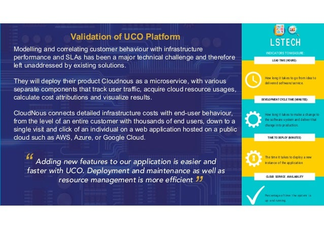 Validation of UCO Platform Modelling and correlating customer behaviour with infrastructure performance and SLAs has been ...