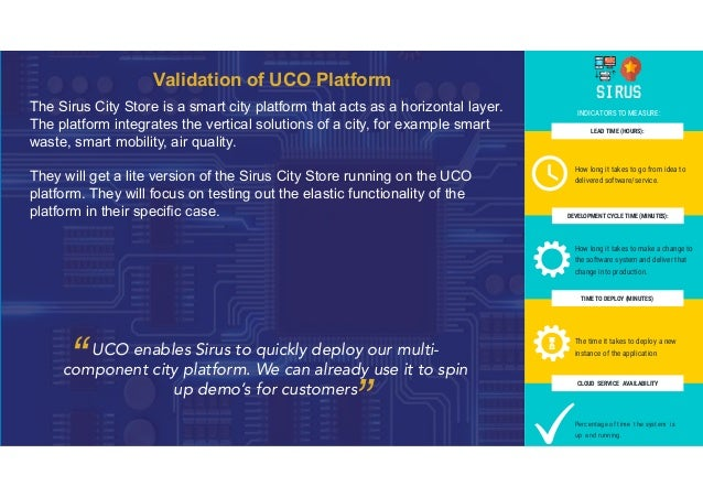 Validation of UCO Platform The Sirus City Store is a smart city platform that acts as a horizontal layer. The platform int...