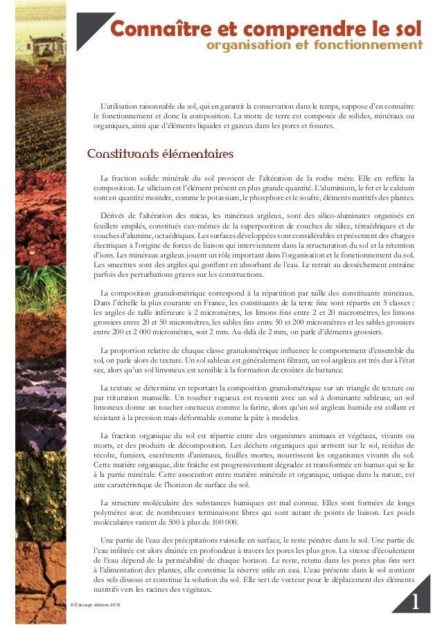 organisation et fonctionnement Connaître et comprendre le sol © Éducagri éditions 2010 1 L'utilisation raisonnable du sol,...