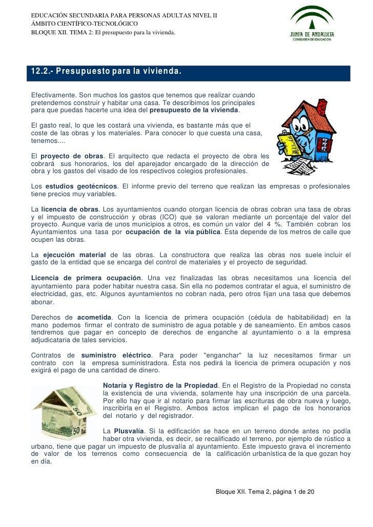 EDUCACIÓN SECUNDARIA PARA PERSONAS ADULTAS NIVEL IIÁMBITO CIENTÍFICO-TECNOLÓGICOBLOQUE XII. TEMA 2: El presupuesto para la...