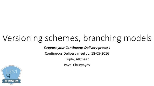 Versioning schemes, branching models Support your Continuous Delivery process Continuous Delivery meetup, 18-05-2016 Tripl...