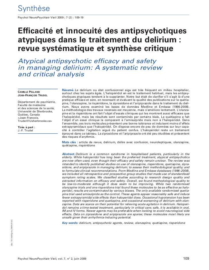 `                             Synthese                             Psychol NeuroPsychiatr Vieil 2009 ; 7 (2) : 109-19     ...