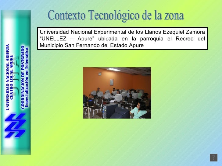 """Contexto Tecnológico de la zona Universidad Nacional Experimental de los Llanos Ezequiel Zamora """"UNELLEZ – Apure"""" ubicada ..."""