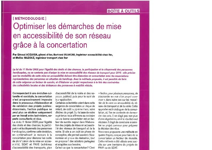 Concertation et accessibilté, Article VRT