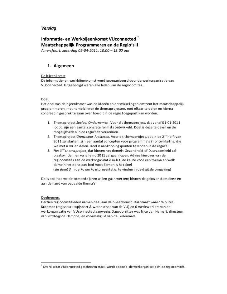 VerslagInformatie‐enWerkbijeenkomstVUconnected1MaatschappelijkProgrammerenendeRegio'sIIAmersfoort,zaterdag0...