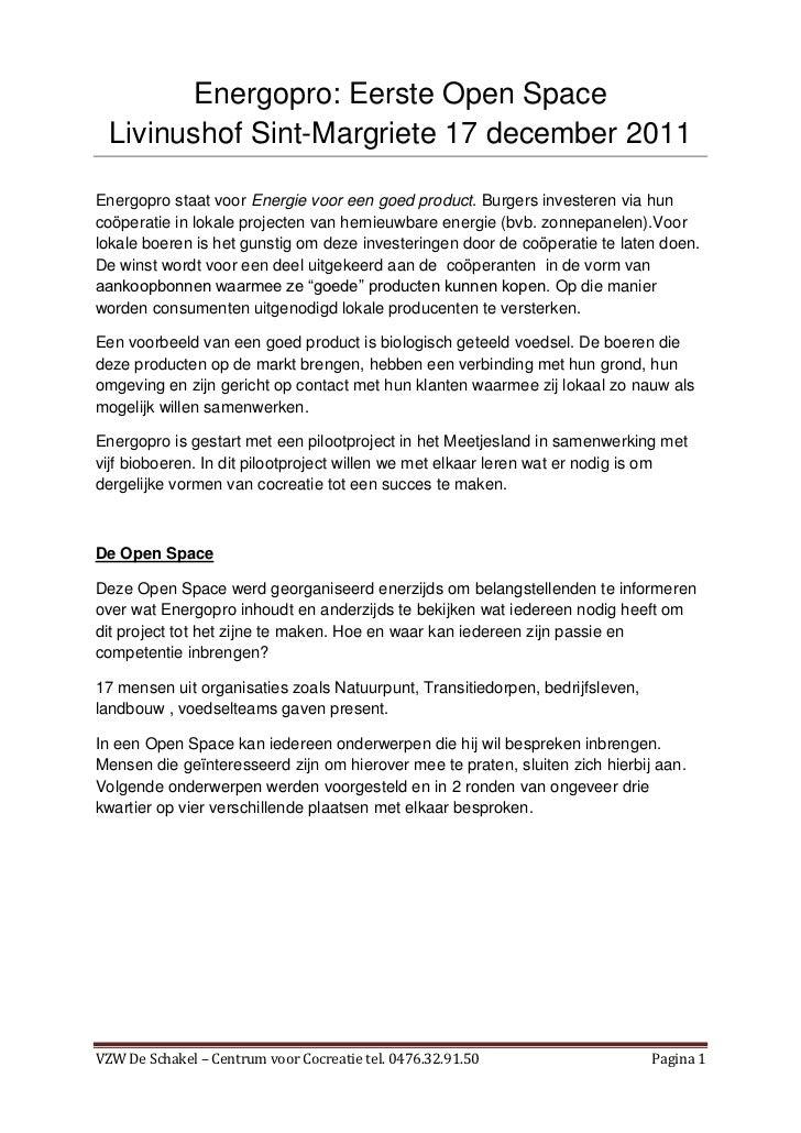 Energopro: Eerste Open Space  Livinushof Sint-Margriete 17 december 2011Energopro staat voor Energie voor een goed product...