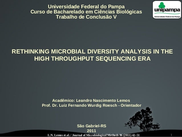 1 Universidade Federal do Pampa Curso de Bacharelado em Ciências Biológicas Trabalho de Conclusão V RETHINKING MICROBIAL D...