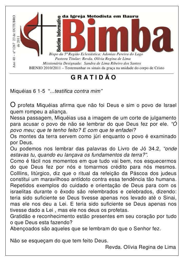Ano 40 – nº 1267 23 de OUTUBRO              de 2011                                            Bispo da 5ª Região Eclesiás...