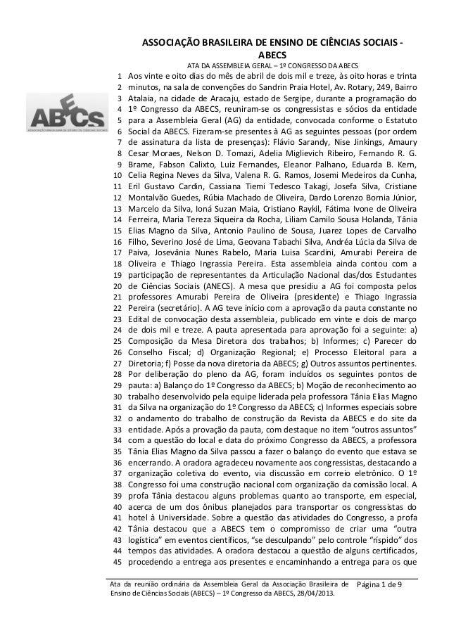 ASSOCIAÇÃO BRASILEIRA DE ENSINO DE CIÊNCIAS SOCIAIS -ABECSATA DA ASSEMBLEIA GERAL – 1º CONGRESSO DA ABECSAta da reunião or...