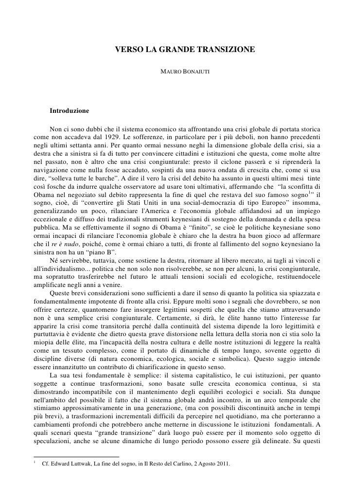 VERSO LA GRANDE TRANSIZIONE                                                     MAURO BONAIUTI       Introduzione       No...