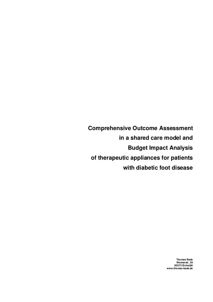 Comprehensive Outcome Assessment          in a shared care model and             Budget Impact Analysisof therapeutic appl...