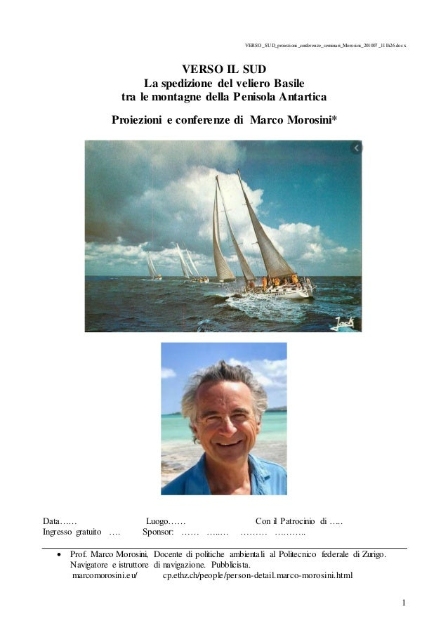 1 VERSO_SUD_proiezioni_conferenze_seminari_Morosini_201007_111h26.docx VERSO IL SUD La spedizione del veliero Basile tra l...