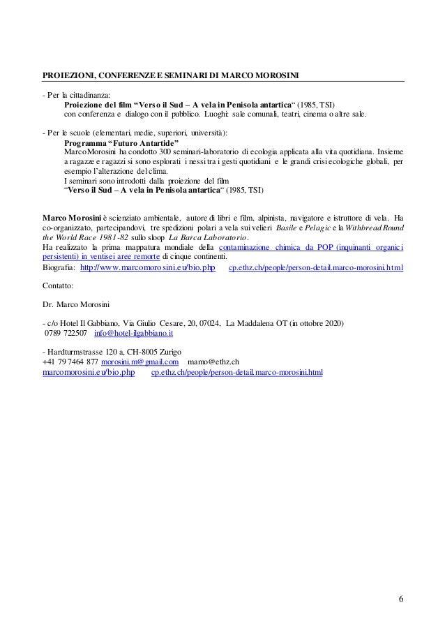 """6 PROIEZIONI, CONFERENZE E SEMINARI DI MARCO MOROSINI - Per la cittadinanza: Proiezione del film """"Verso il Sud – A vela in..."""