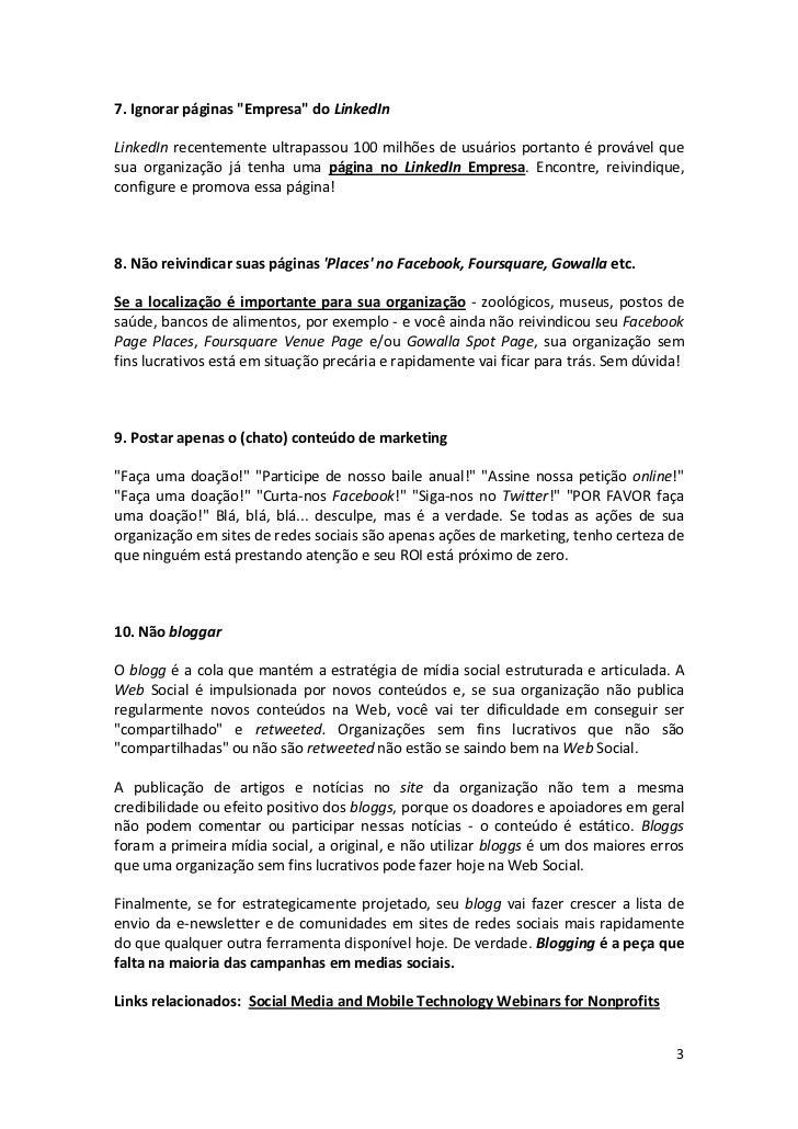 10 erros comuns na atuação de ONGs nas redes sociais Slide 3