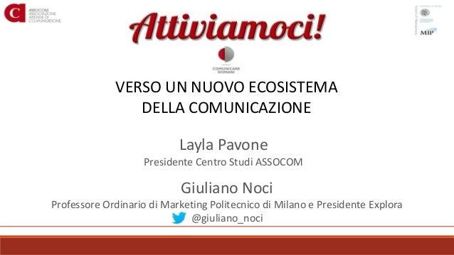 VERSO UN NUOVO ECOSISTEMA DELLA COMUNICAZIONE Layla Pavone Presidente Centro Studi ASSOCOM Giuliano Noci Professore Ordina...