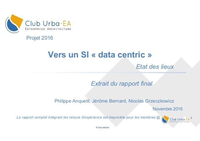 1 © Club Urba-EA Le rapport complet intégrant les retours d'expérience est disponible pour les membres @ Vers un SI « data...
