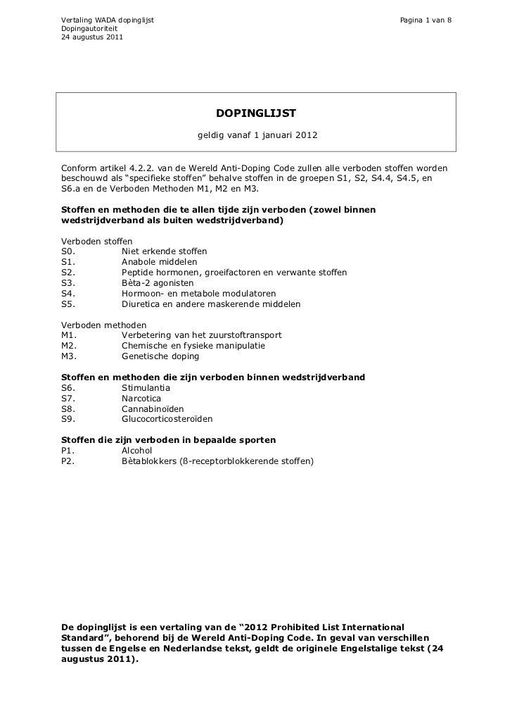 Vertaling WADA dopinglijst                                                    Pagina 1 van 8Dopingautoriteit24 augustus 20...