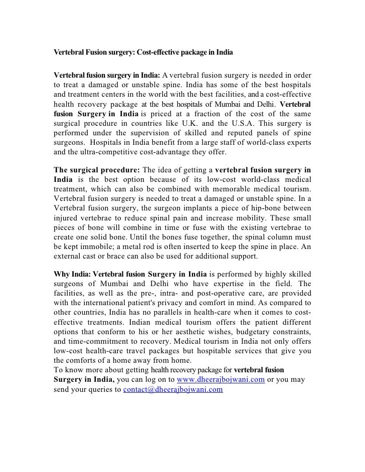 Vertebral Fusion surgery: Cost-effective package in India  Vertebral fusion surgery in India: A vertebral fusion surgery i...