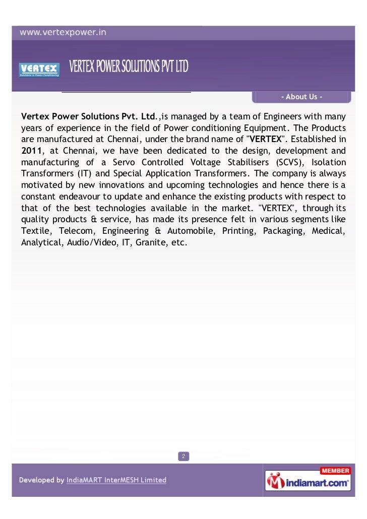 Vertex Power Solutions Pvt Ltd Chennai Power Control Systems