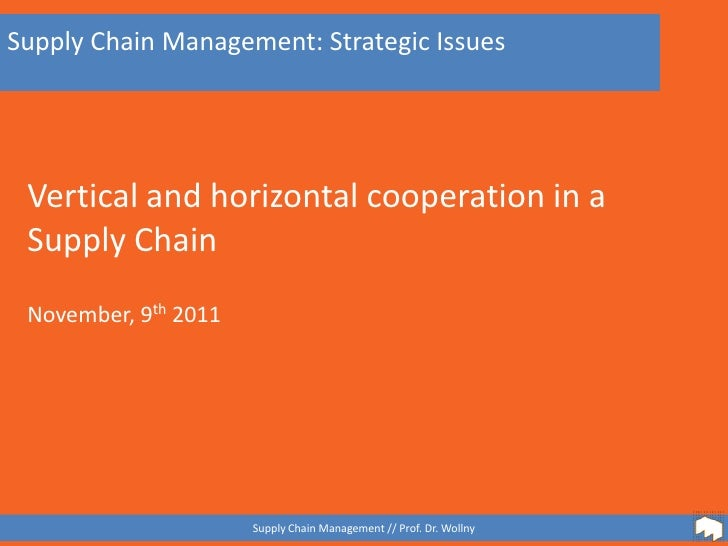 Supply Chain Management: Strategic Issues Vertical and horizontal cooperation in a Supply Chain November, 9th 2011        ...