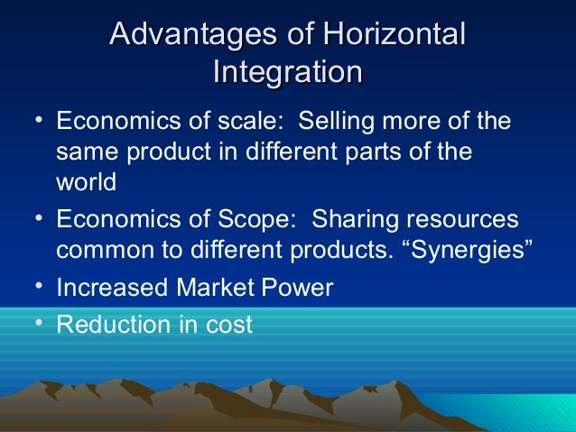 reasons for vertical and horizontal integration What is vertical integration vertical integration is a business strategy used to expand a firm by gaining ownership of the firm's previous supplier or distributor many firms use vertical.