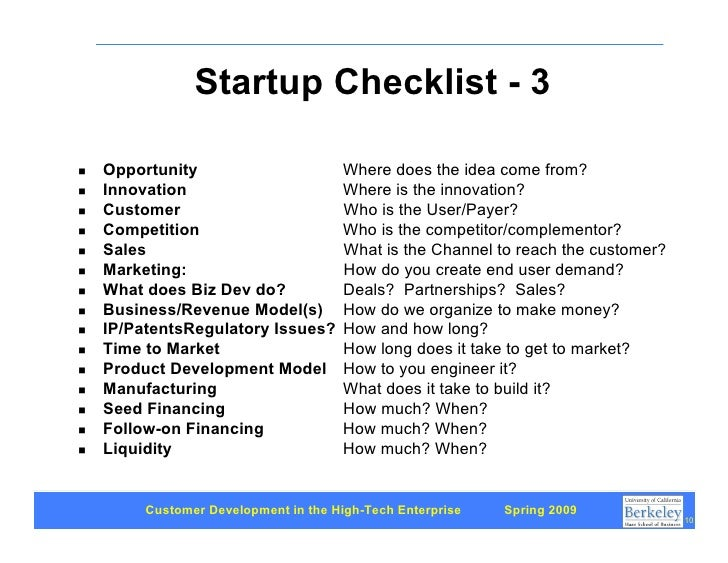 Startup Checklist - 3      Opportunity                       Where does the idea come from? !     Innovation              ...