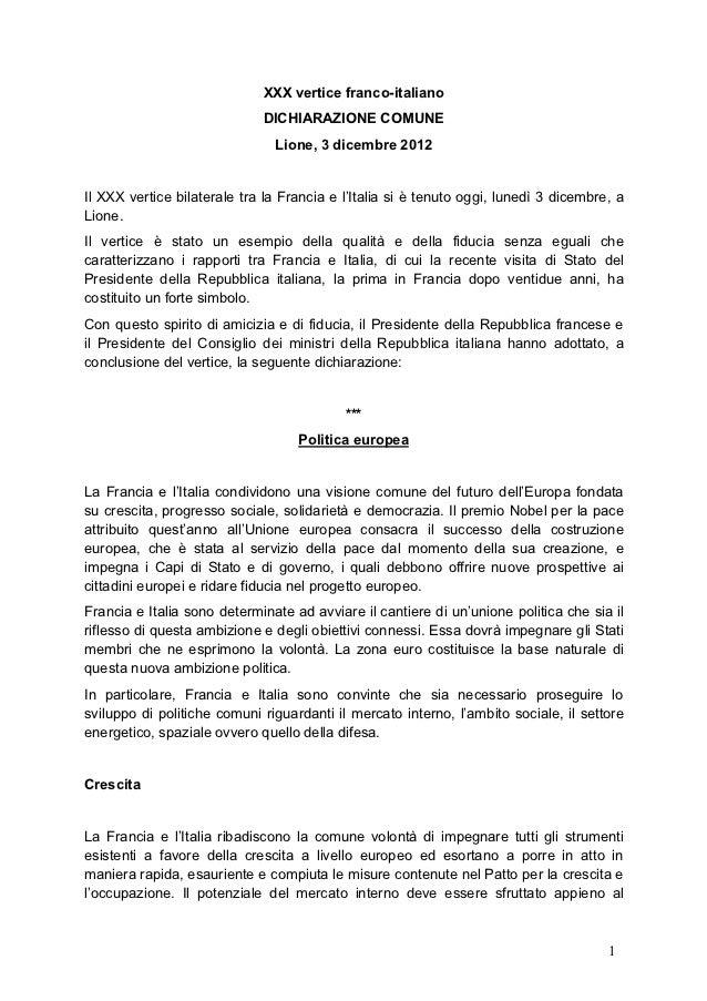 XXX vertice franco-italiano                             DICHIARAZIONE COMUNE                               Lione, 3 dicemb...