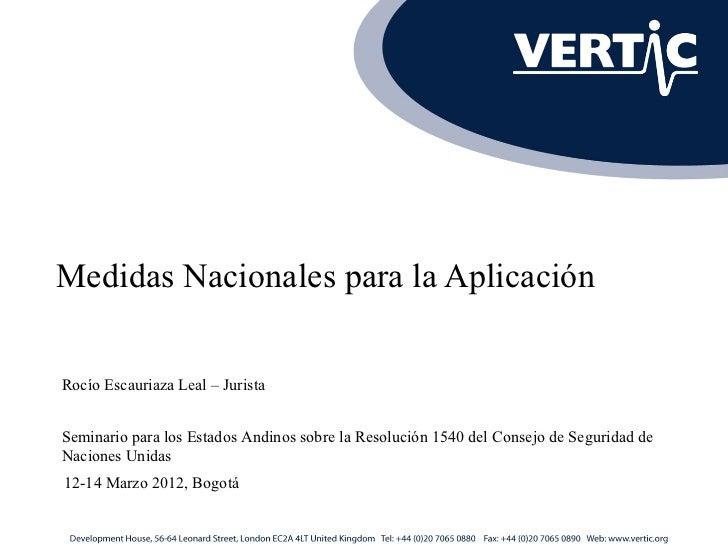 Medidas Nacionales para la AplicaciónRocío Escauriaza Leal – JuristaSeminario para los Estados Andinos sobre la Resolución...