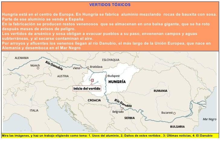 VERTIDOS TÓXICOS  Hungría está en el centro de Europa. En Hungría se fabrica aluminio mezclando rocas de bauxita con sosa....