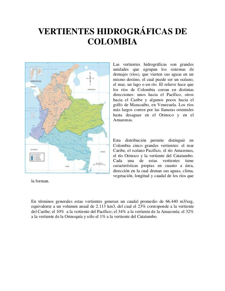 VERTIENTES HIDROGRÁFICAS DE            COLOMBIA                                              Las vertientes hidrográficas ...