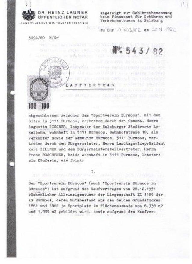 Vertrag SV Bürmoos mit Gemeinde Bürmoos