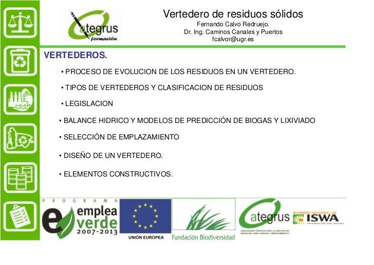 Vertedero de residuos sólidos                                       Fernando Calvo Redruejo.                              ...