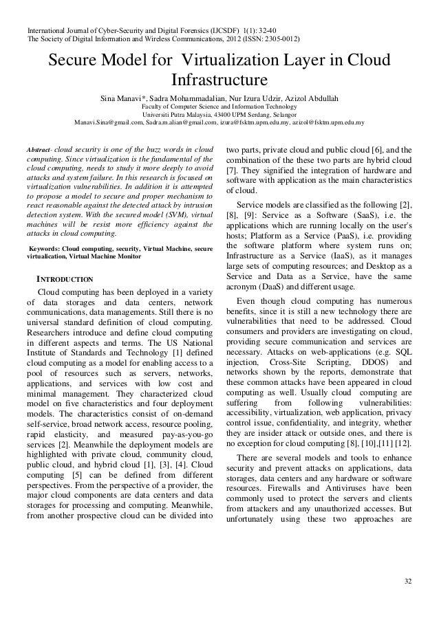 32 Secure Model for Virtualization Layer in Cloud Infrastructure Sina Manavi*, Sadra Mohammadalian, Nur Izura Udzir, Azizo...